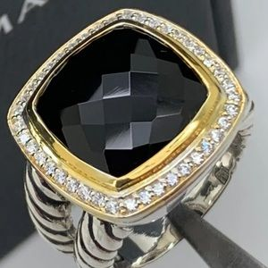 David Yurman 925 Diam.  18kt 14mm Bl. Onyx Ring6.5